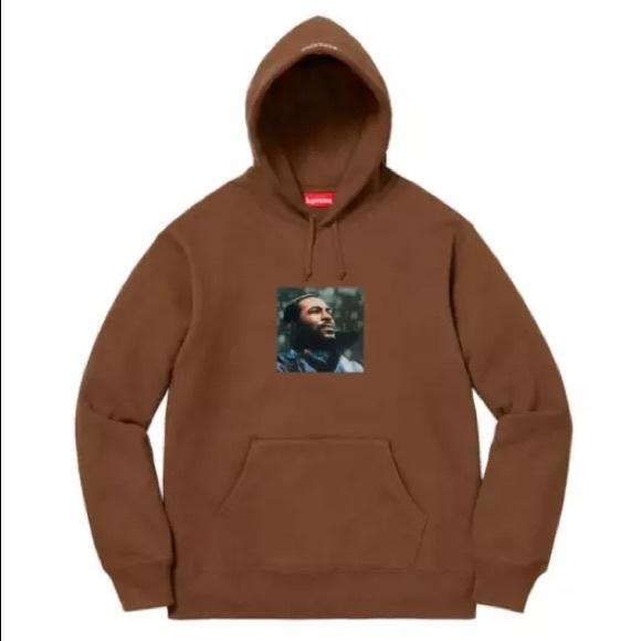 89ba5b3f Supreme Sweaters | Marvin Gaye Hooded Sweatshirt Brown | Poshmark